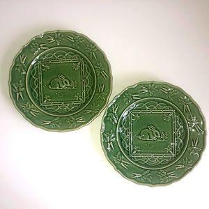 Sur La Table Green Rabbit Luncheon Plates Set
